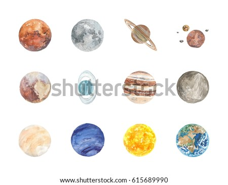 Stock Photo Watercolor Solar System planets