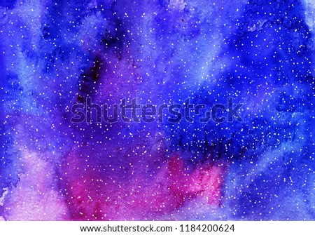 Watercolor space background. Nebula and stars. Science wallpaper illustration. View from Venus, Mars, Moon, Earth