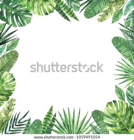 Watercolor square frame of tropical leaves and branches. A background for invitations, advertising, postcards. Option No 2. #1059491054