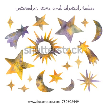 watercolor stars and celestial bodies. isolated elements on a white background