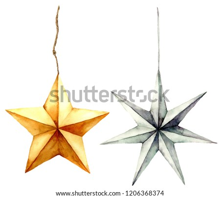 Watercolor stars decoration. Hand painted gold and silver stars isolated on white background. Christmas toys. Holiday modern decor illustration #1206368374