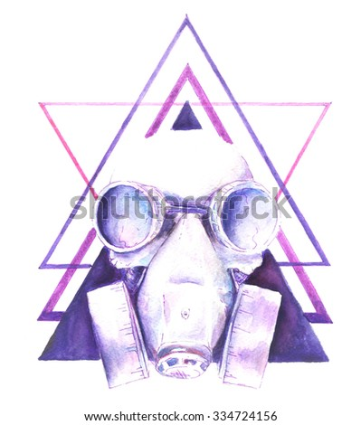Stock Photo Watercolor Steampunk skull gas mask with graphic elements triangle, shirt design