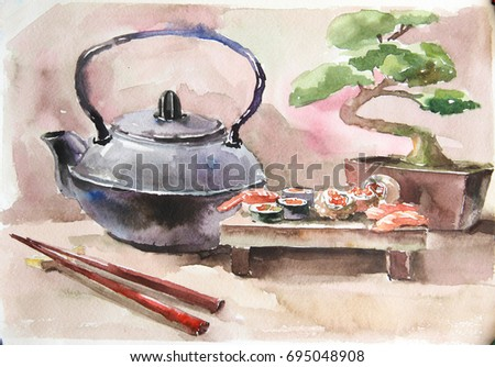 Watercolor still life, landscape. Be used for design books, album, postcards, invitations. The picturesque scenery quality of the image. Interior painting of a bedroom, bathroom, nursery,kitchen
