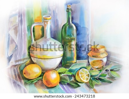 Watercolor still life with citrus and olives