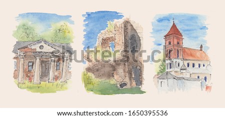 Watercolor stock illustration of historical buildings. Architecture sketch paintings with bright blue sky and historical church, castle and house ruins. Concept for Easter decorations, post cards art.