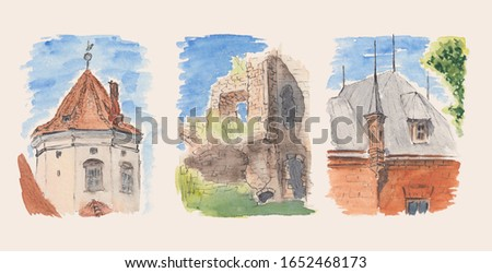 Watercolor stock pictures collection of historical buildings Architecture sketch paintings of Eastern European castle, ruins and house. Concept for Easter decorations, wallpaper, post cards, magnets.