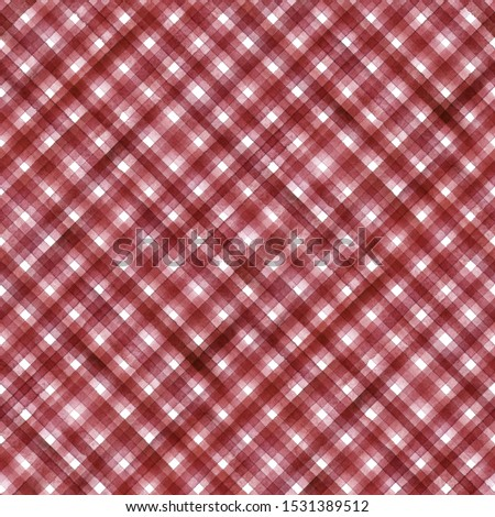 Watercolor stripe diagonal plaid seamless pattern. Red stripes on white background. Watercolour hand drawn striped texture. Print for cloth design, textile, fabric, wallpaper, wrapping, tile.