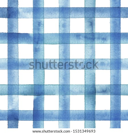 Watercolor stripe gingham plaid seamless pattern. Blue stripes on white background. Watercolour hand drawn striped texture. Print for cloth design, textile, fabric, wallpaper, wrapping, tile.