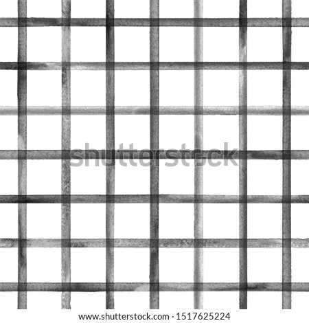 Watercolor stripe plaid seamless pattern. Black stripes on white background. Watercolour hand drawn striped texture. Print for cloth design, textile, fabric, wallpaper, wrapping, tile.