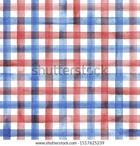 Watercolor stripe plaid seamless pattern. Blue and red stripes on white background. Watercolour hand drawn striped texture. Print for cloth design, textile, fabric, wallpaper, wrapping, tile.