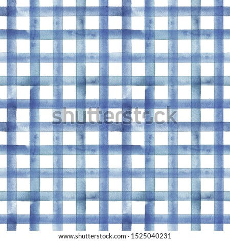 Watercolor stripe plaid seamless pattern. Blue color stripes on white background. Watercolour hand drawn striped texture. Print for cloth design, textile, fabric, wallpaper, wrapping, tile.