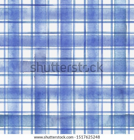 Watercolor stripe plaid seamless pattern. Blue stripes on white background. Watercolour hand drawn striped texture. Print for cloth design, textile, fabric, wallpaper, wrapping, tile.