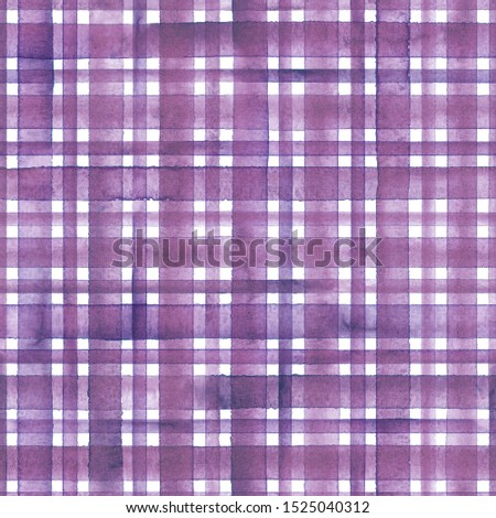 Watercolor stripe plaid seamless pattern. Colorful purple pink stripes on white background. Watercolour hand drawn striped texture. Print for cloth design, textile, fabric, wallpaper, wrapping, tile.