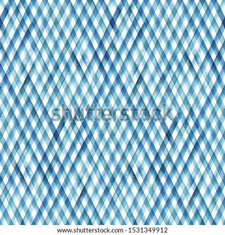 Watercolor stripe plaid seamless pattern. Colorful teal blue stripes background. Watercolour hand drawn diagonal striped texture. Print for cloth design, textile, fabric, wallpaper, wrapping, tile.