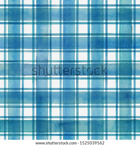 Watercolor stripe plaid seamless pattern. Colorful teal blue stripes on white background. Watercolour hand drawn striped texture. Print for cloth design, textile, fabric, wallpaper, wrapping, tile.