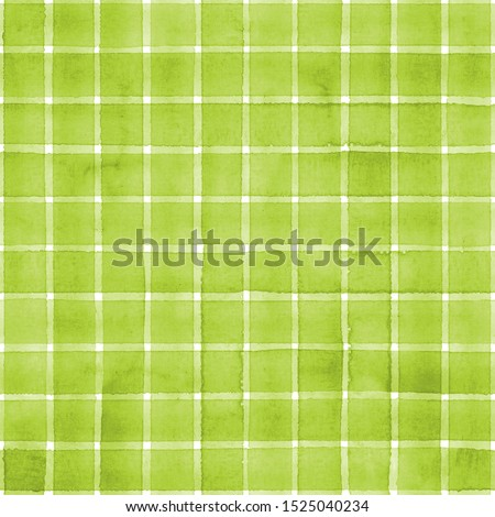 Watercolor stripe plaid seamless pattern. Green color stripes on white background. Watercolour hand drawn striped texture. Print for cloth design, textile, fabric, wallpaper, wrapping, tile.