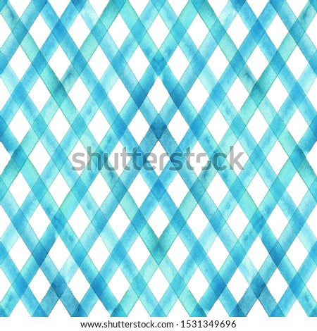 Watercolor stripe plaid seamless pattern. Turquoise teal blue stripes background. Watercolour hand drawn diagonal striped texture. Print for cloth design, textile, fabric, wallpaper, wrapping, tile.