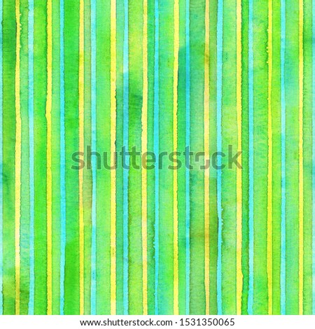 Watercolor stripe seamless pattern. Colorful teal yellow green stripes background. Watercolour hand drawn striped texture. Print for cloth design, textile, fabric, wallpaper, wrapping, tile.