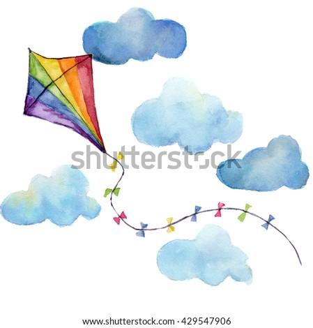 watercolor striped kite air set....