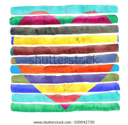 Watercolor Stripes Heart