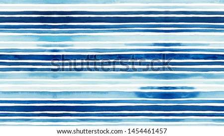Watercolor stripes pattern, seamless watercolor background. Hand drawn summer pattern, blue watercolor lines.