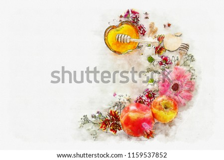 watercolor style and abstract image of Rosh hashanah (jewish New Year holiday) concept. Traditional symbols #1159537852