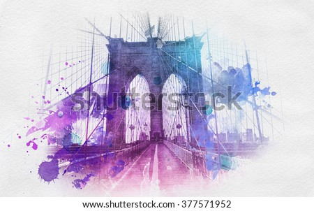 Watercolor style paint splattering over image of the Brooklyn Bridge in New York city from front, low angle view