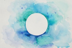 Watercolor Stylized Circle in Blue Colors on a White Textured Background. Watercolor.