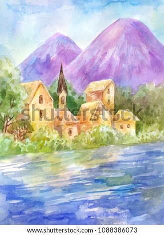 Watercolor summer landscape with lake or river, mountains. Vintage illustration suitable for natural poster