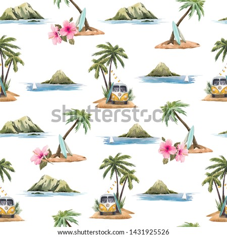 Watercolor summer tropical background, Hawaii mountains, sea, hippie bus and palm trees. pink hydrangea