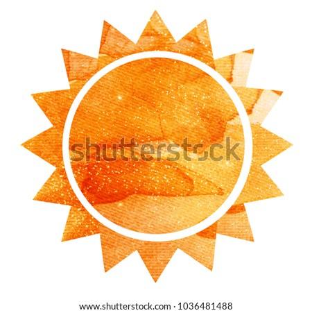 Watercolor sun on white