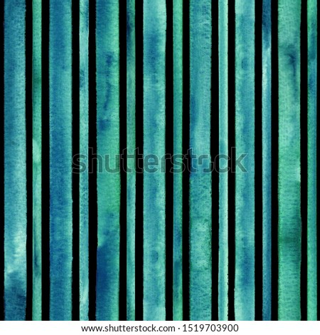 Watercolor teal blue stripes background. Black and turquoise striped seamless pattern. Watercolour hand drawn stripe texture. Print for cloth design, textile, fabric, wallpaper, wrapping, tile.