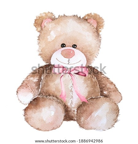 Watercolor teddy bear hand drawn illustration.Lovely Teddy Bear brown toy for valentines day gifts.Cartoon bear isolated on white background.