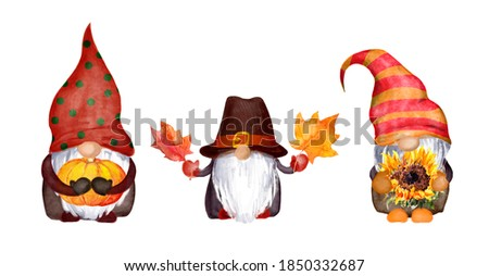 Watercolor Thanksgiving gnomes family with pumpkin, autumn leaves, sunflower. Set of nordic magic dwarfs