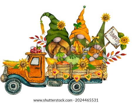Watercolor Thanksgiving Truck with Fall Gnomes with Pumkins and autumn flowers, Bright rustic pickup harvest festival illustration