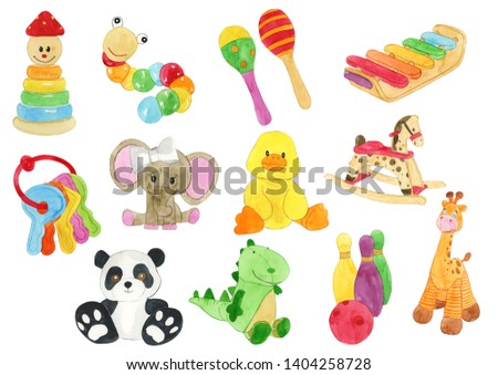 Watercolor Toys Illustration, Toys Clipart