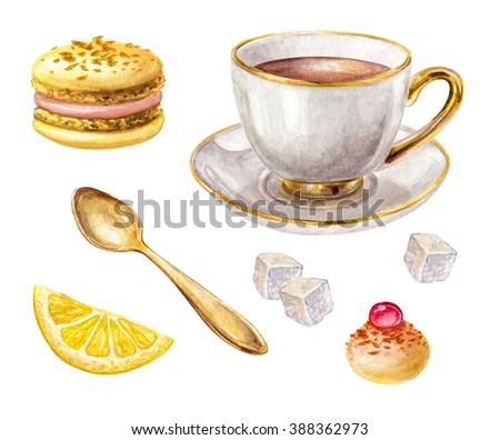 watercolor traditional cup of tea, lemon, macaroon biscuit, gold spoon, meringue, illustration isolated on white background
