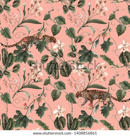 Watercolor tropical exotic pattern with orchid, green leaves. Butterflies, leopard.