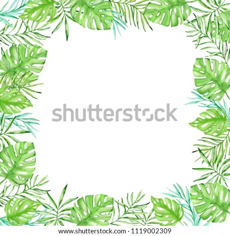 Watercolor tropical floral frame with green palm leaves on a white background #1119002309