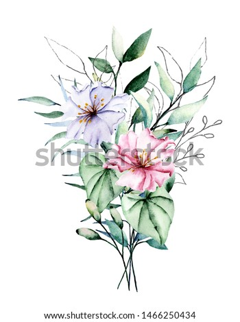 Watercolor tropical flowers, pink and violet bouquet. Floral clip art. Perfectly for printing design on invitations, cards, wall art and other. Isolated on white background. Hand painted.