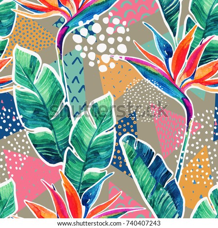 Watercolor tropical flowers with contour on geometric background. Hand drawn bird-of-paradise flower, leaves, triangles with scribble doodles textures, minimal elements. Watercolour art illustration