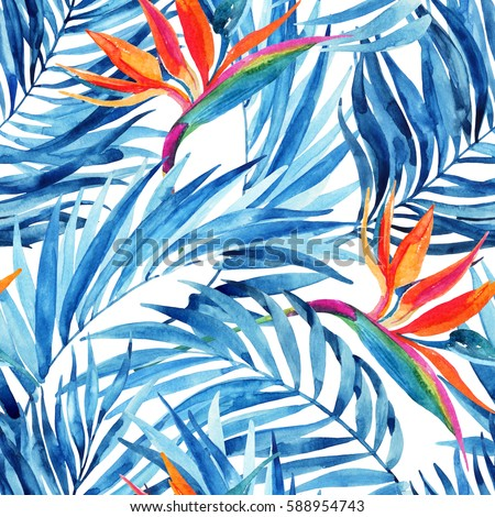Watercolor tropical leaves and flowers seamless pattern. Watercolour palm leaves and bird-of-paradise painting. Hand painted illustration for summer design. Water color exotic background.