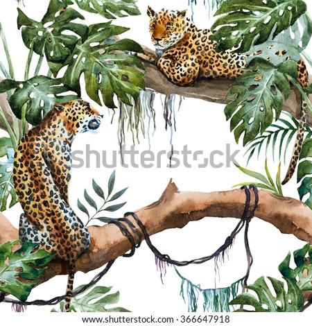 watercolor tropical leopard pattern, plant monstera, lianas