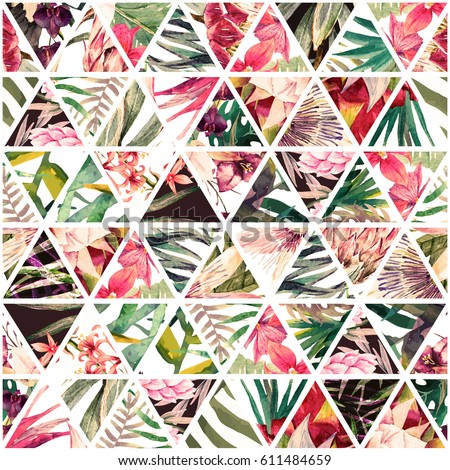 Watercolor tropical pattern in patchwork style. Exotic beach trendy seamless pattern,  hibiscus flower. Jungle  wallpaper. Geometric diamond pattern
