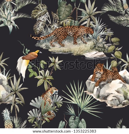 Watercolor tropical pattern with a leopard animal, a leopard with a cub lying on the beds. Birds of Paradise on the tree. Palm tree and Monsterra plant. dark background