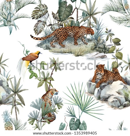 Watercolor tropical pattern with a leopard animal, a wild leopardle walking through the jungle, a leopard with a cub lying on the beds. Birds of Paradise on the tree. Palm tree and Monsterra plant.