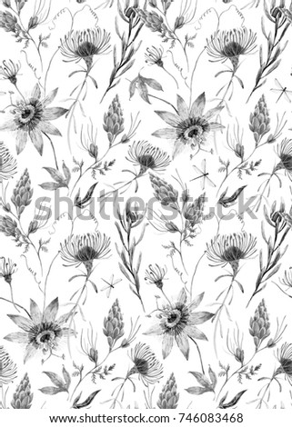 Watercolor tropical pattern with exotic australian flowers proteus watercolor tropical pattern with exotic australian flowers proteus yellow flowers red flowers eremophila mightylinksfo