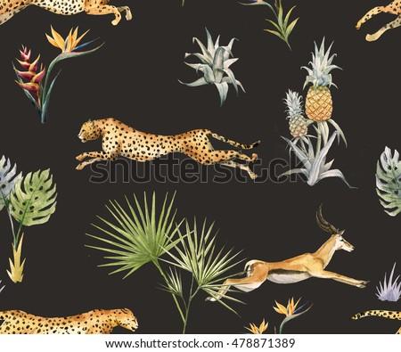 Stock Photo watercolor tropical pattern with leopard and antelope, tropical plant, pineapple, flower Strelitzia, Tibetan deer, safari wallpaper, black background
