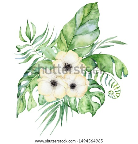 watercolor tropical plants bouquet. Exotic flowers and leaves, botany elements