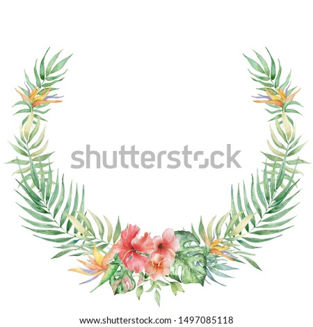 watercolor tropical plants wreath. Exotic flowers and leaves, botany elements